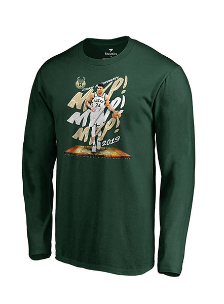 Fanatics Giannis Antetokounmpo 2019 NBA MVP Milwaukee Bucks Long Sleeve T-Shirt