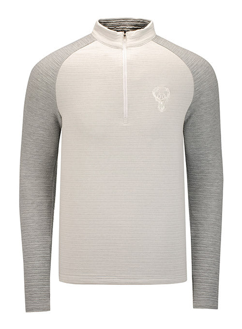 Antigua Lagoon White Milwaukee Bucks 1/4 Zip Pullover