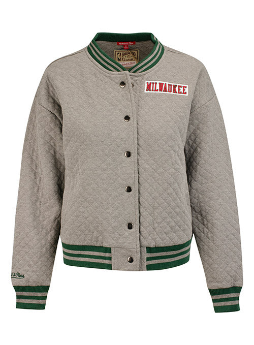 Women's Mitchell & Ness Hardwood Classics Quilted Wordmark Button Up Milwaukee Bucks Jacket