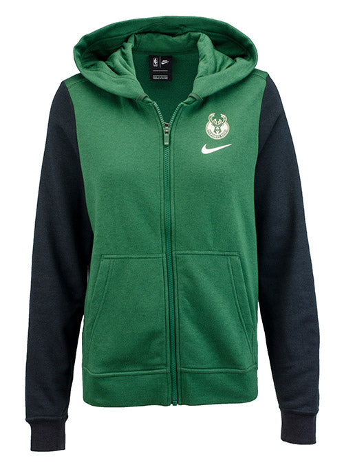 Women's Green Nike Club Fleece Full Zip Milwaukee Bucks Hooded Sweatshirt