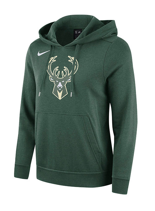 Women's Nike Club Fleece Green Icon Milwaukee Bucks Hooded Sweatshirt