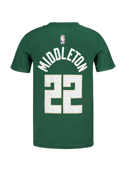 Youth Nike Khris Middleton Icon Milwaukee Bucks T-Shirt
