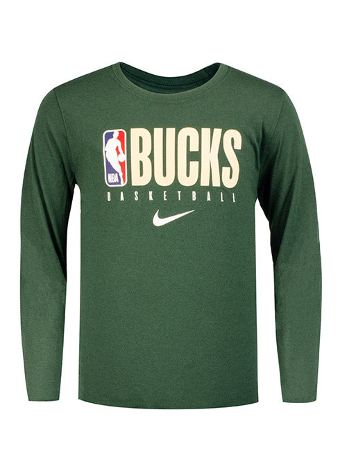 Youth Nike On Court Practice Green Milwaukee Bucks Long Sleeve T-Shirt