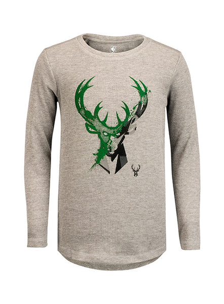 Youth Outerstuff Waffle Weave Milwaukee Bucks Long Sleeve Thermal Shirt