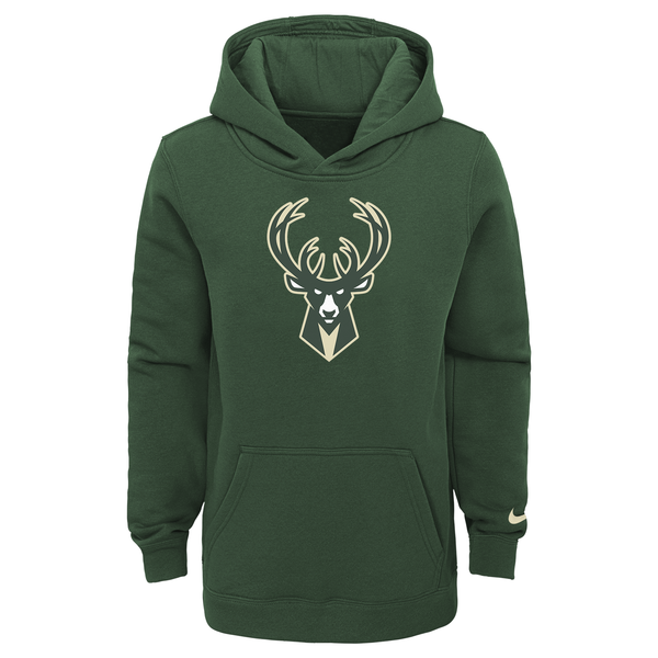 Youth Nike Logo Essential 20 Milwaukee Bucks Hooded Sweatshirt