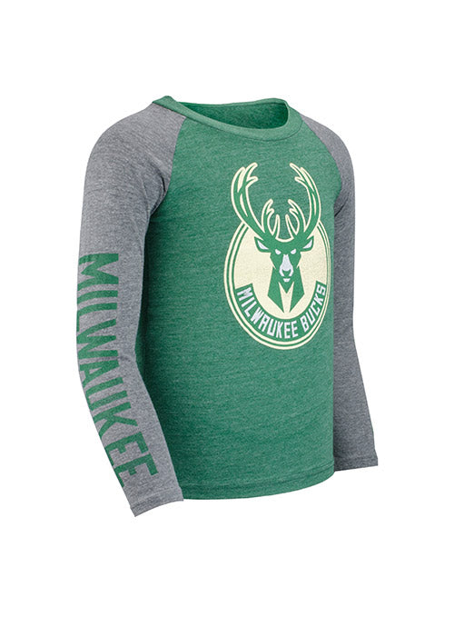 Juvenile Outerstuff Fadeaway Milwaukee Bucks Long Sleeve T-Shirt