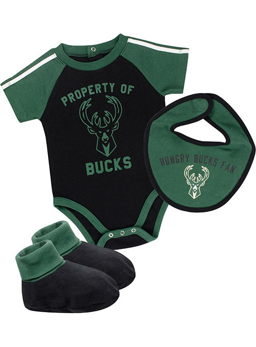Infant Outerstuff Rebound 3-Piece Milwaukee Bucks Onesie Set