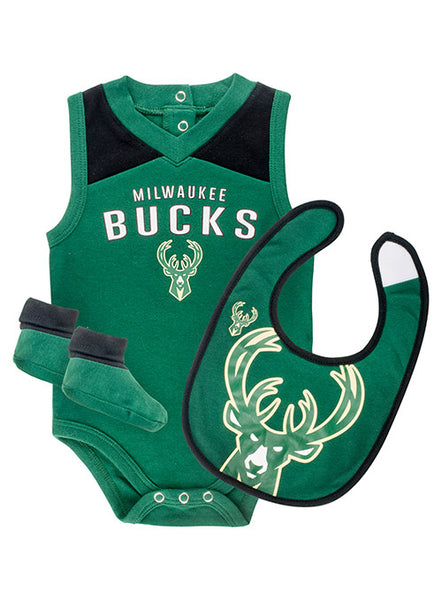 Infant Overtime Milwaukee Bucks 3 Piece Bodysuit Bib and Booties Set