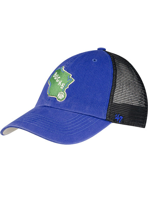 '47 Blue Hill Mesh Back Closer Milwaukee Bucks Stretch Fit Cap