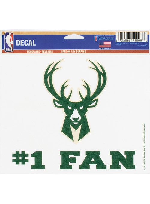Wincraft #1 Fan Icon Milwaukee Bucks Decal