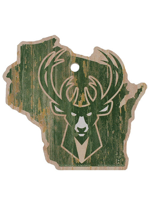 Wincraft Rustic State Icon Milwaukee Bucks Wood Sign