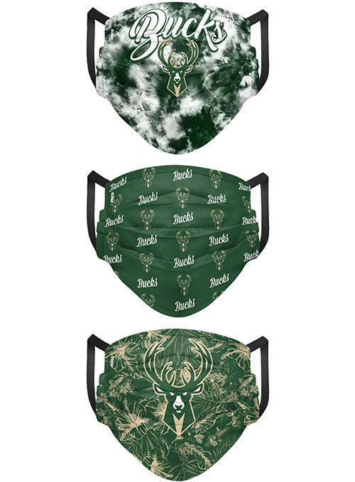 FOCO 3-Pack Matchday Milwaukee Bucks Reusable Face Covers