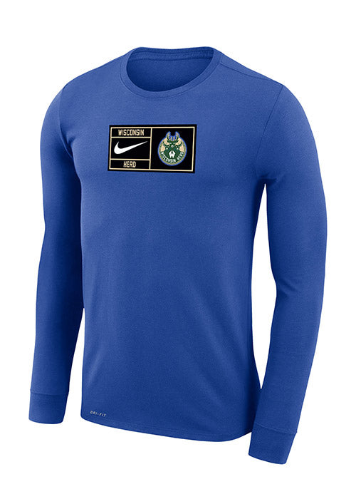 Nike Legend Verbiage Blue Wisconsin Herd Long Sleeve T-Shirt