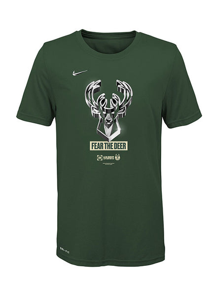 Youth Nike Playoff 2019 Logo Milwaukee Bucks T-Shirt