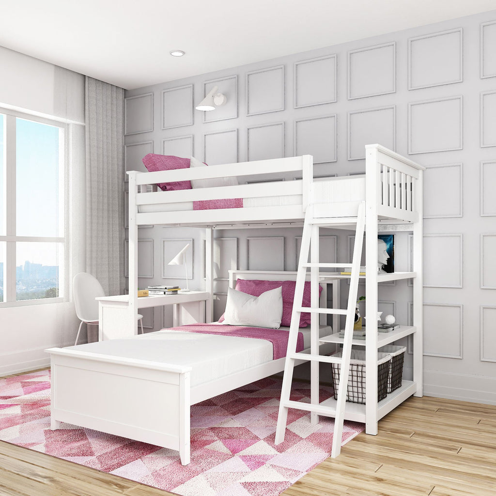 Max & Lily Kid's L-Shape Twin Over Twin Size Bunk Bed with Bookcase + Desk Bunk Beds White