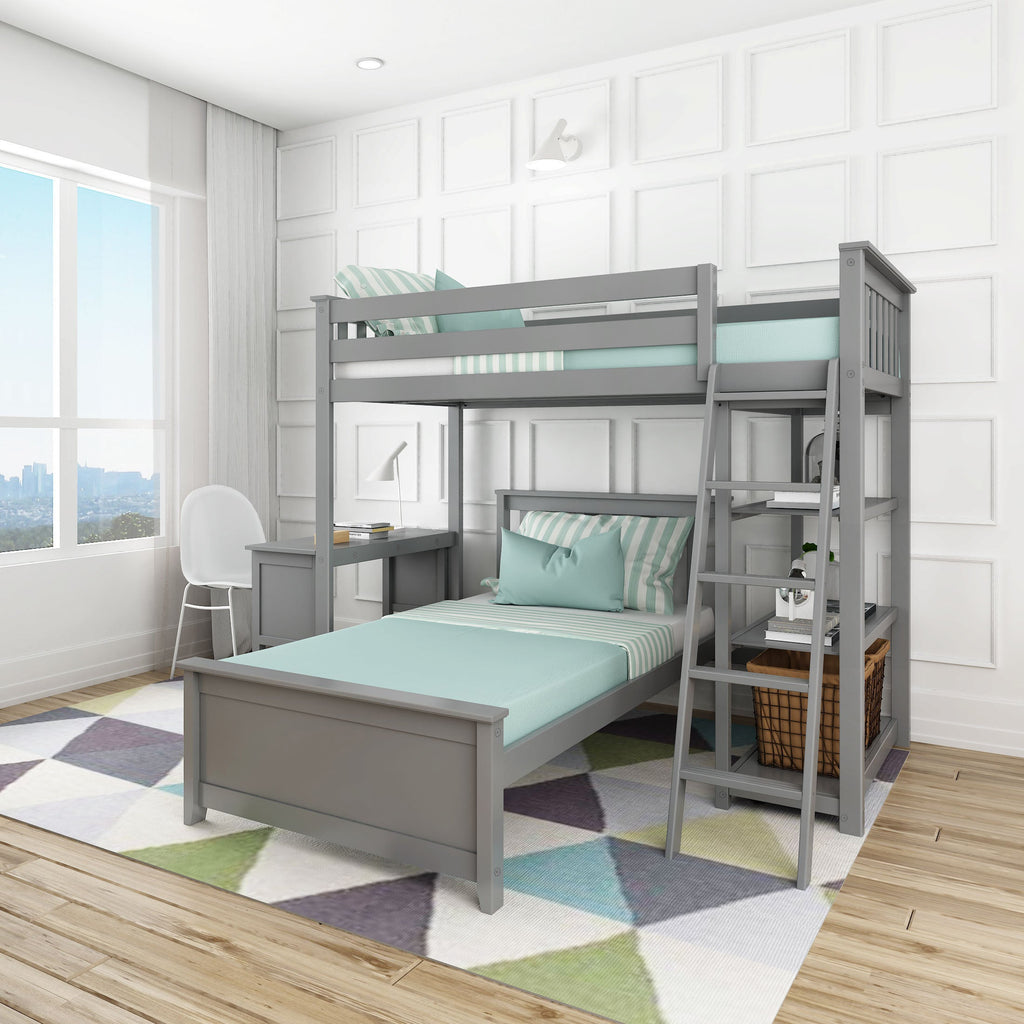 Max & Lily Kid's L-Shape Twin Over Twin Size Bunk Bed with Bookcase + Desk Bunk Beds Grey