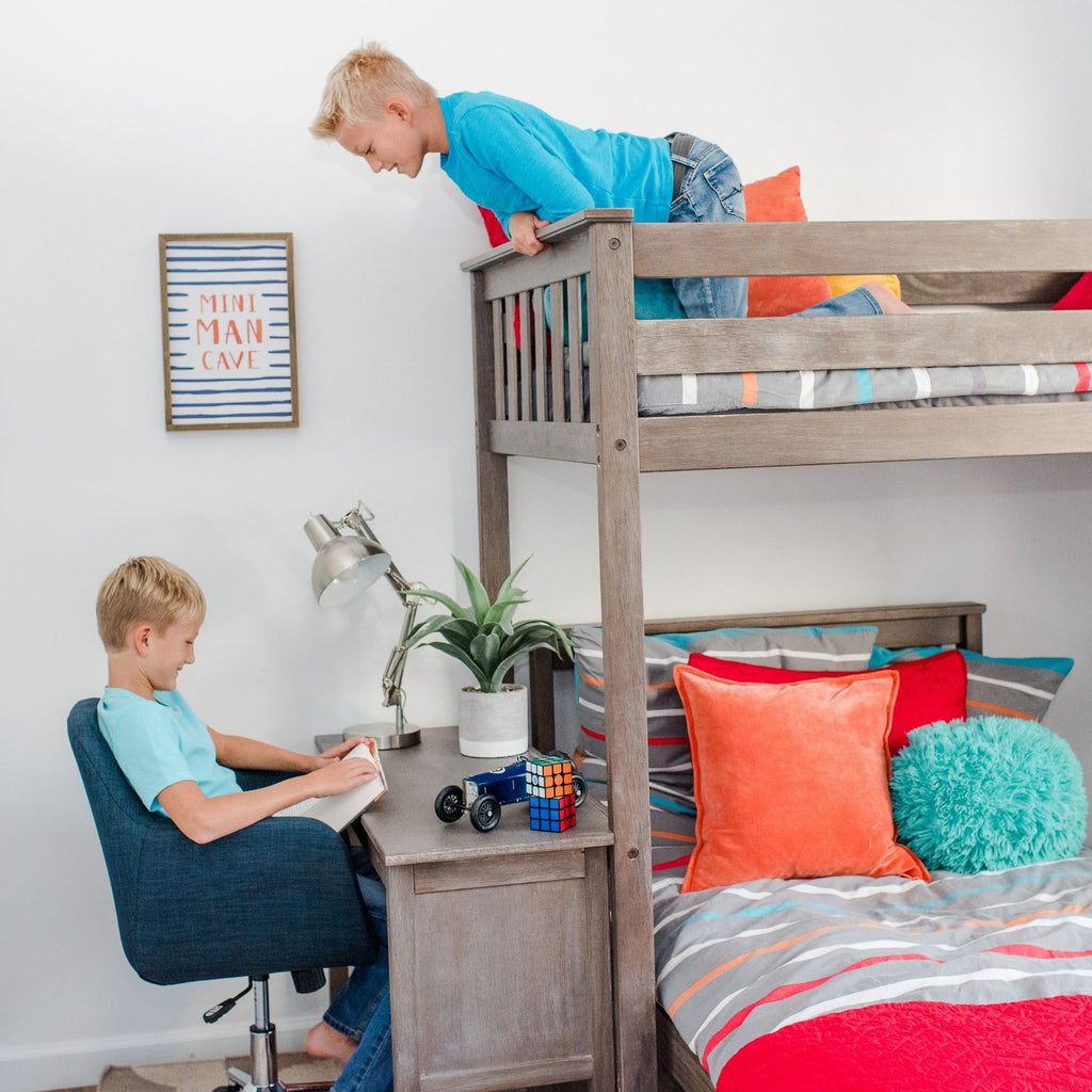 Max & Lily Kid's L-Shape Twin Over Twin Size Bunk Bed with Bookcase + Desk Bunk Beds