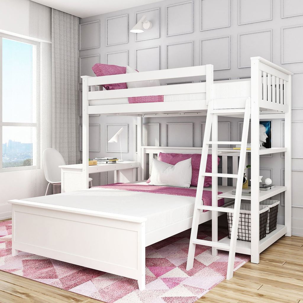 Max & Lily Kid's L-Shaped Twin Over Full Size Bunk Bed with Bookcase + Desk Bunk Beds White