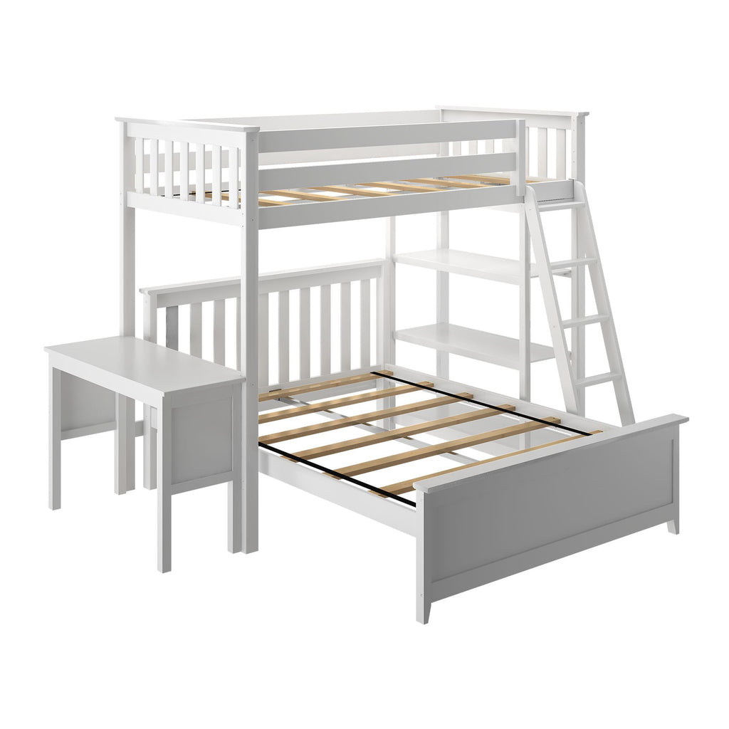 Max & Lily Kid's L-Shaped Twin Over Full Size Bunk Bed with Bookcase + Desk Bunk Beds