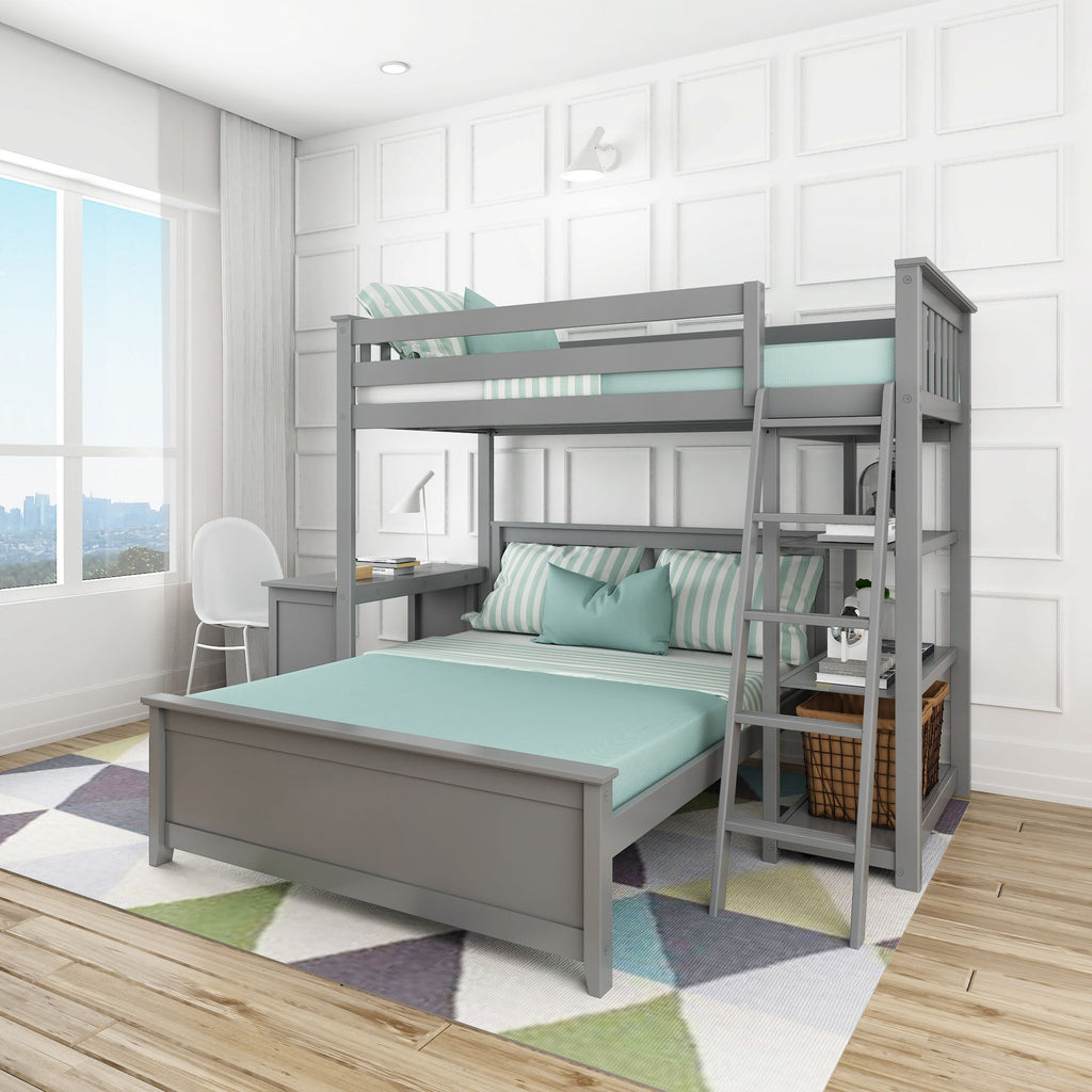 Max & Lily Kid's L-Shaped Twin Over Full Size Bunk Bed with Bookcase + Desk Bunk Beds Grey
