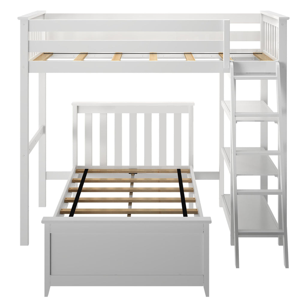 Max & Lily Kid's L-Shape Twin Over Twin Size Bunk Bed with Bookcase Bunk Beds