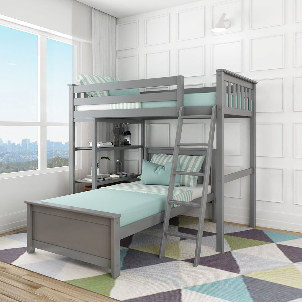 Max & Lily Kid's L-Shape Twin Over Twin Size Bunk Bed with Bookcase Bunk Beds Grey