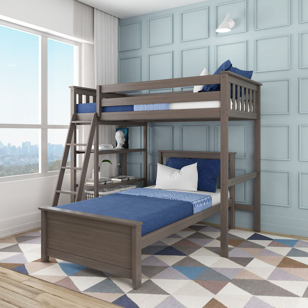 Max & Lily Kid's L-Shape Twin Over Twin Size Bunk Bed with Bookcase Bunk Beds Clay