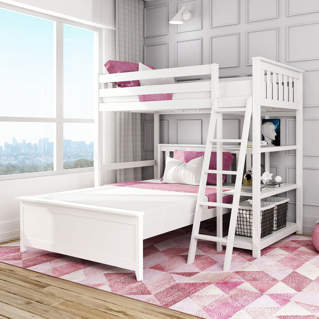 Max & Lily Kid's L-Shape Twin Over Full Size Bunk Bed with Bookcase Bunk Beds White