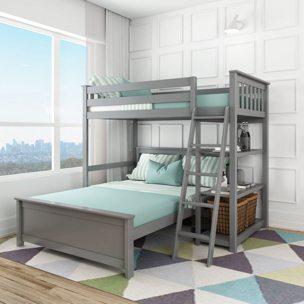 Max & Lily Kid's L-Shape Twin Over Full Size Bunk Bed with Bookcase Bunk Beds Grey