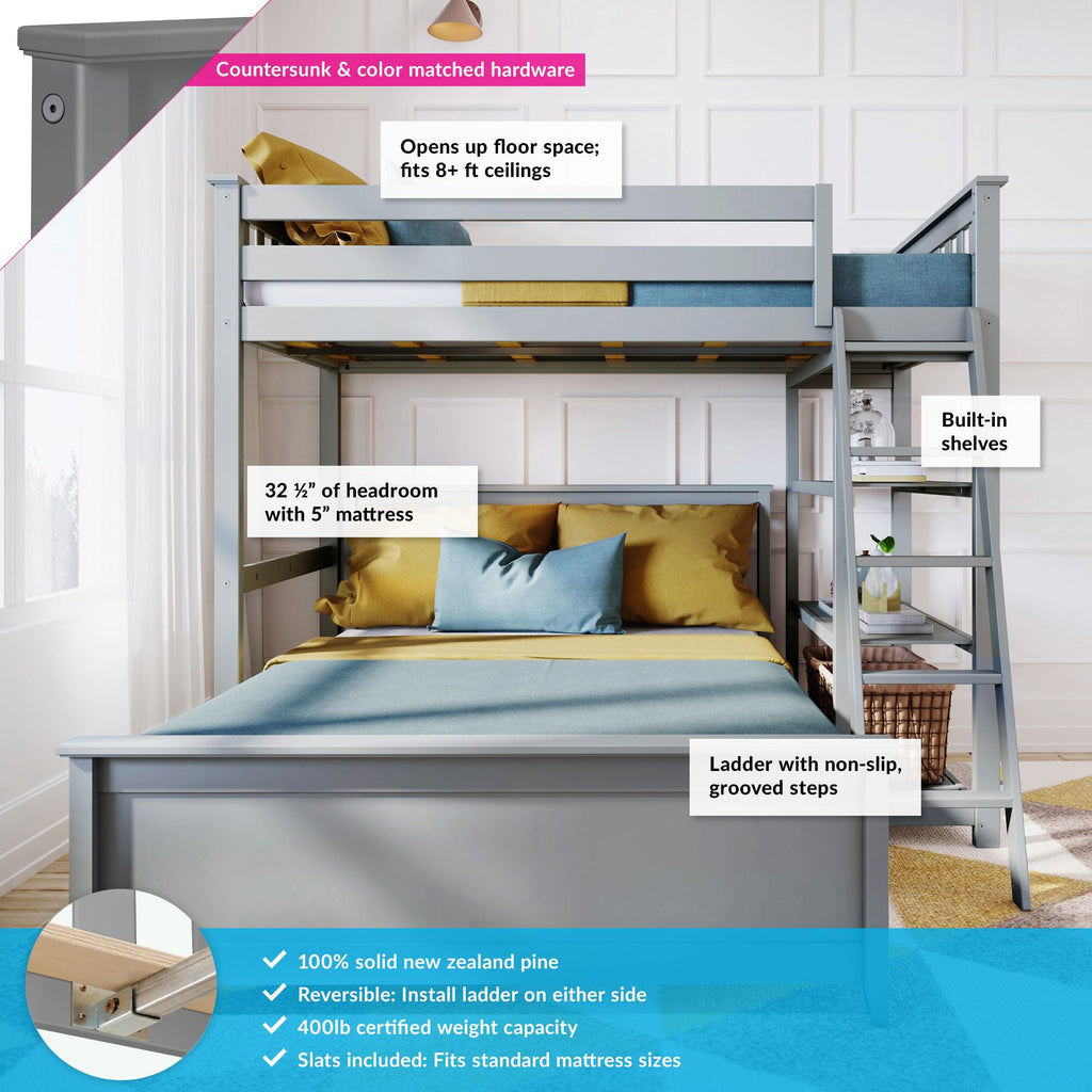 Max & Lily Kid's L-Shape Twin Over Full Size Bunk Bed with Bookcase Bunk Beds
