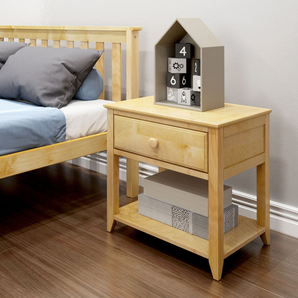 Max & Lily Nightstand with Drawer and Shelf Furniture Natural
