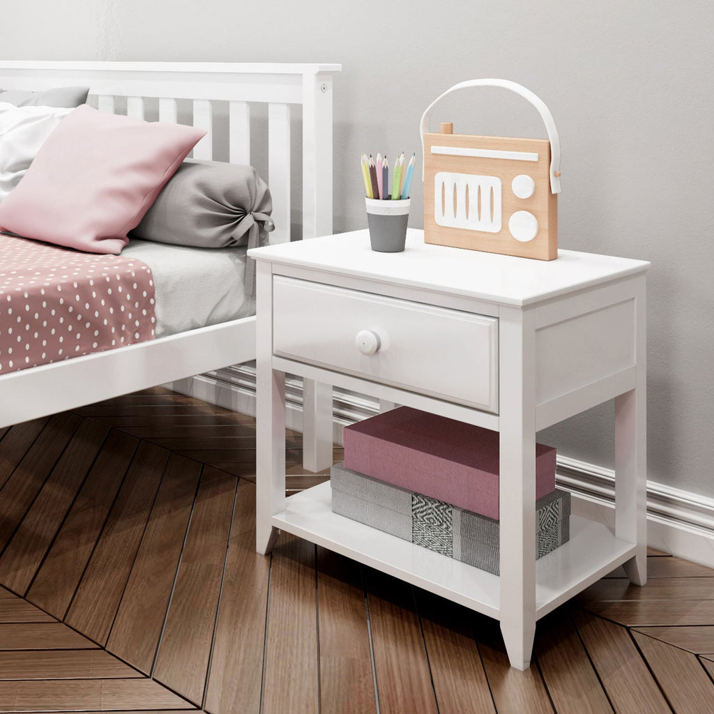 Max & Lily Nightstand with Drawer and Shelf Furniture White