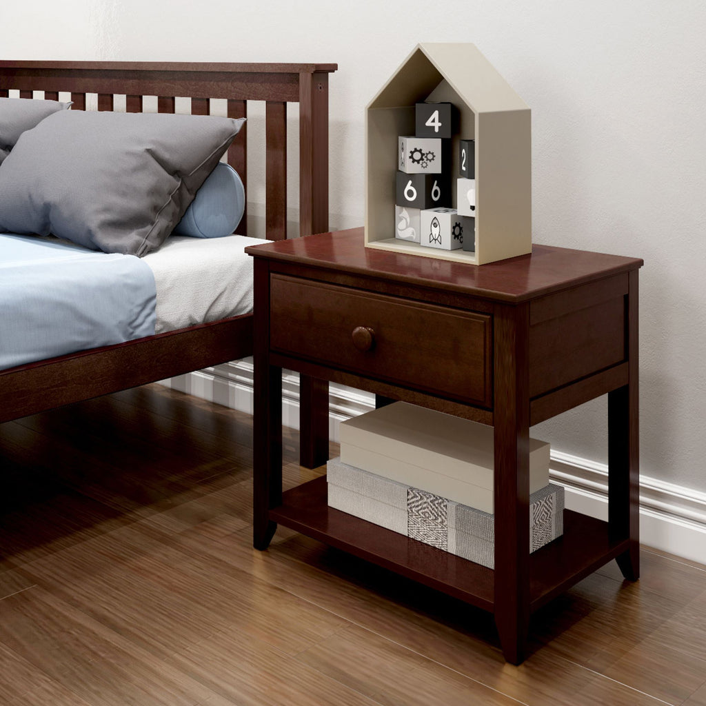 Max & Lily Nightstand with Drawer and Shelf Furniture Espresso