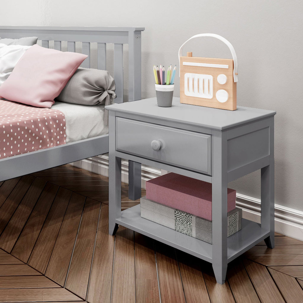 Max & Lily Nightstand with Drawer and Shelf Furniture Grey