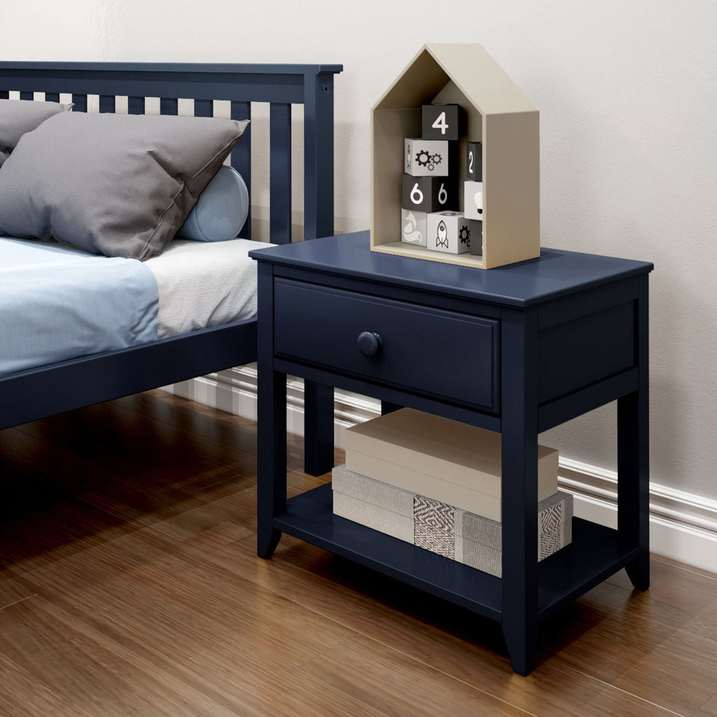 Max & Lily Nightstand with Drawer and Shelf Furniture Blue