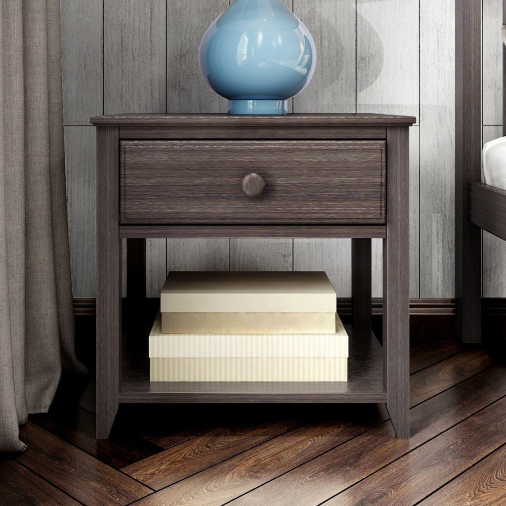 Max & Lily Nightstand with Drawer and Shelf Furniture Clay