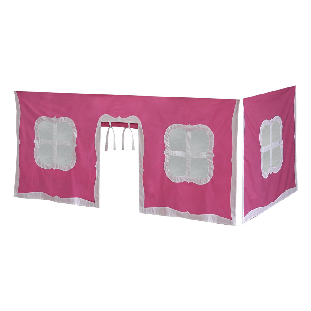 Max & Lily Cotton Underbed Curtain with Fancy Windows Component Pink + White