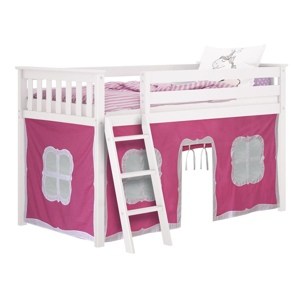 Max & Lily Cotton Underbed Curtain with Fancy Windows Component