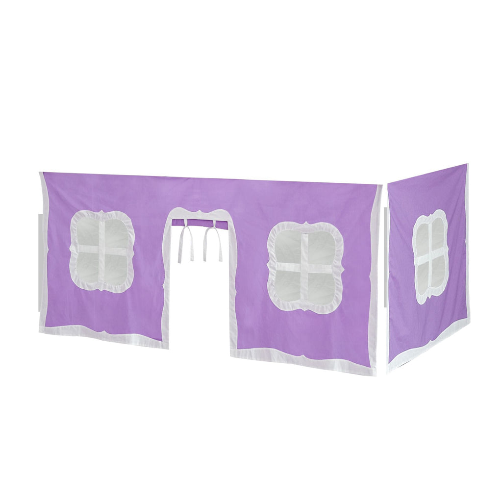 Max & Lily Cotton Underbed Curtain with Fancy Windows Component Purple + White