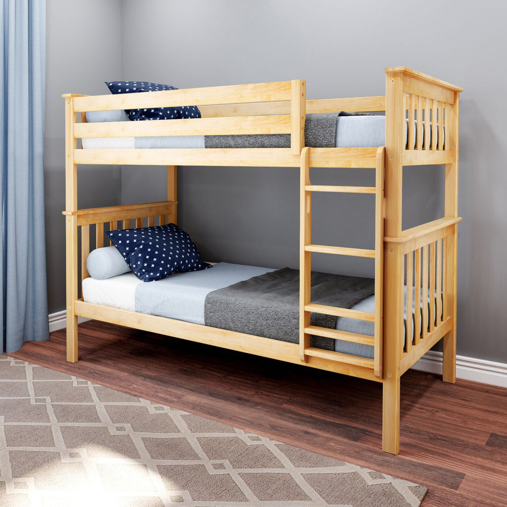 Max & Lily Kid's Twin Over Twin Size Bunk Bed Bunk Beds Natural