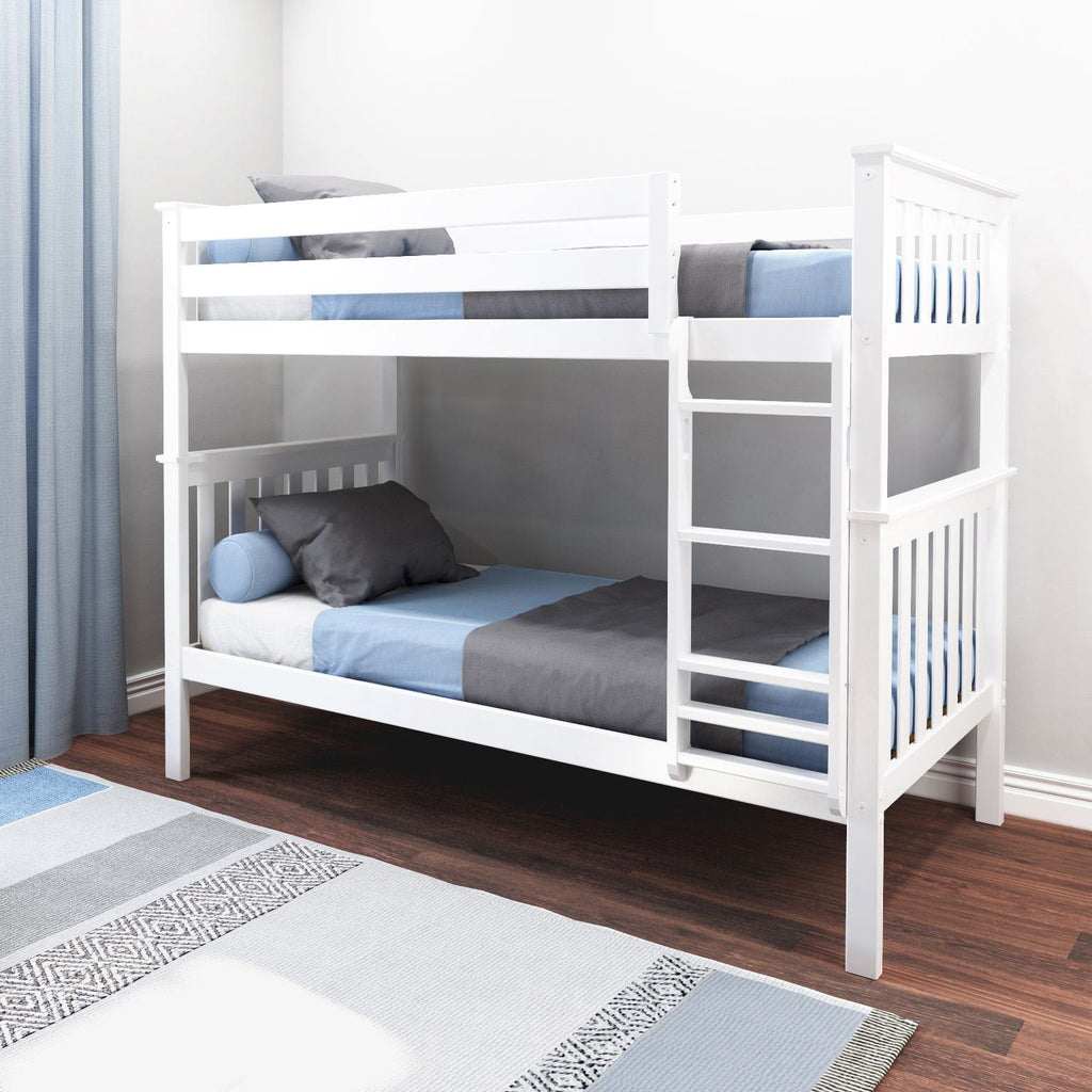 Max & Lily Kid's Twin Over Twin Size Bunk Bed Bunk Beds White