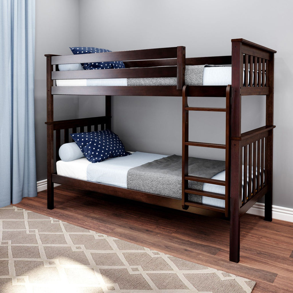 Max & Lily Kid's Twin Over Twin Size Bunk Bed Bunk Beds Espresso