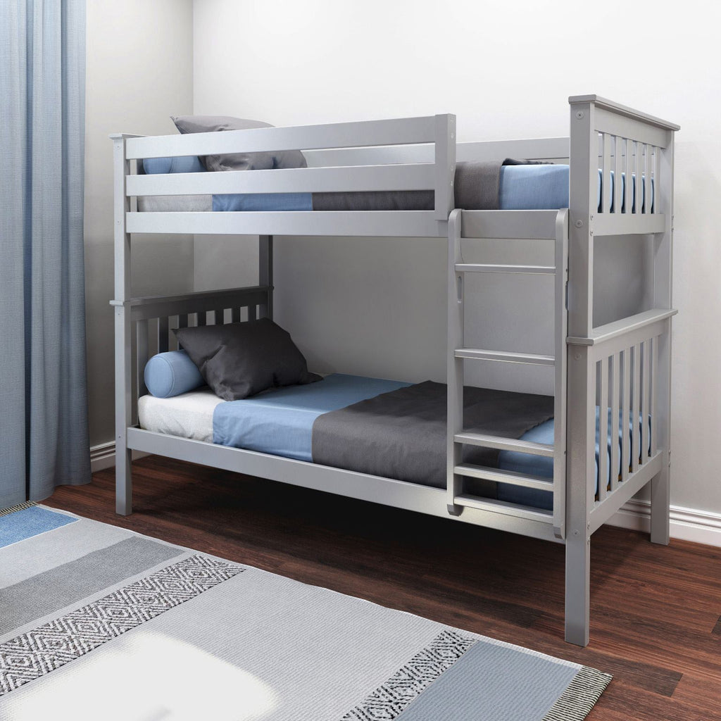 Max & Lily Kid's Twin Over Twin Size Bunk Bed Bunk Beds Grey