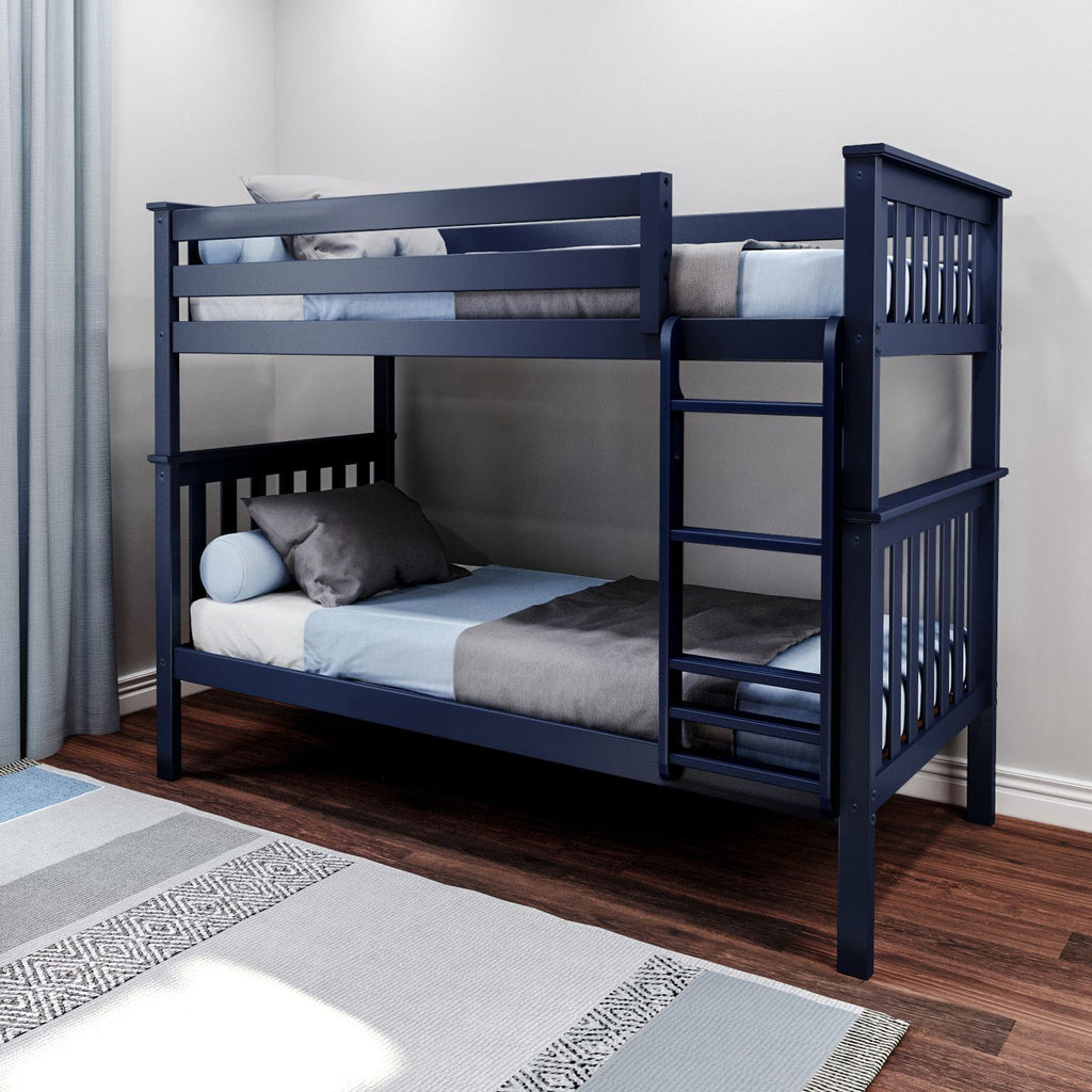 Max & Lily Kid's Twin Over Twin Size Bunk Bed Bunk Beds Blue