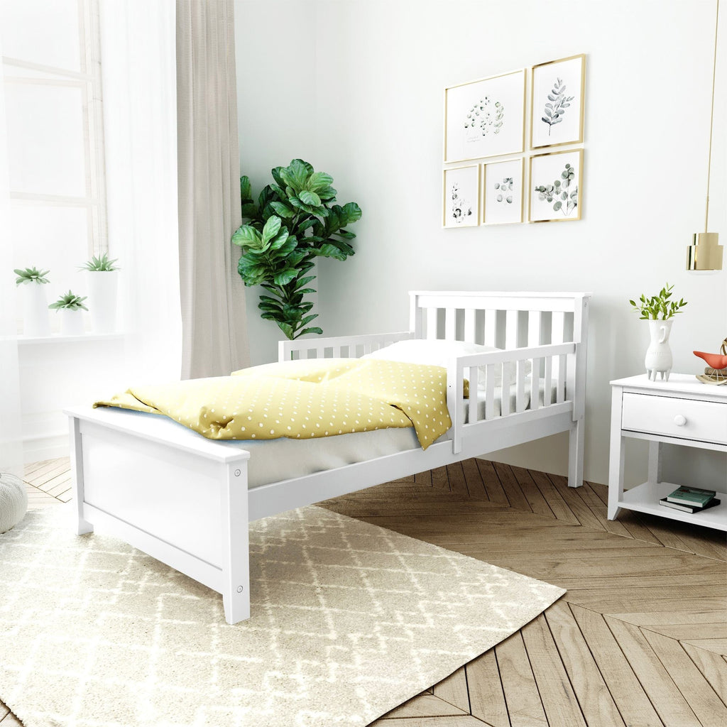 Max & Lily Twin Bed with Single Guard Rail Single Bed White Two