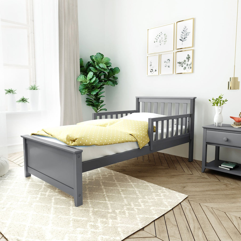 Max & Lily Twin Bed with Single Guard Rail Single Bed Grey Two