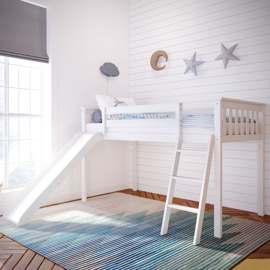 Max & Lily Kid's Twin Size Low Loft with Slide Loft Beds White