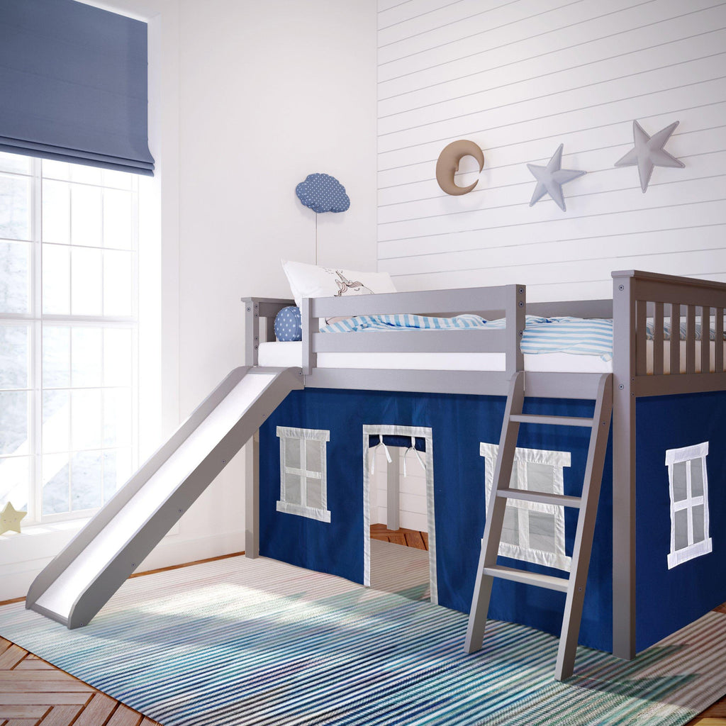 Max & Lily Twin-Size Low Loft with Slide + Curtain Loft Beds Grey Blue