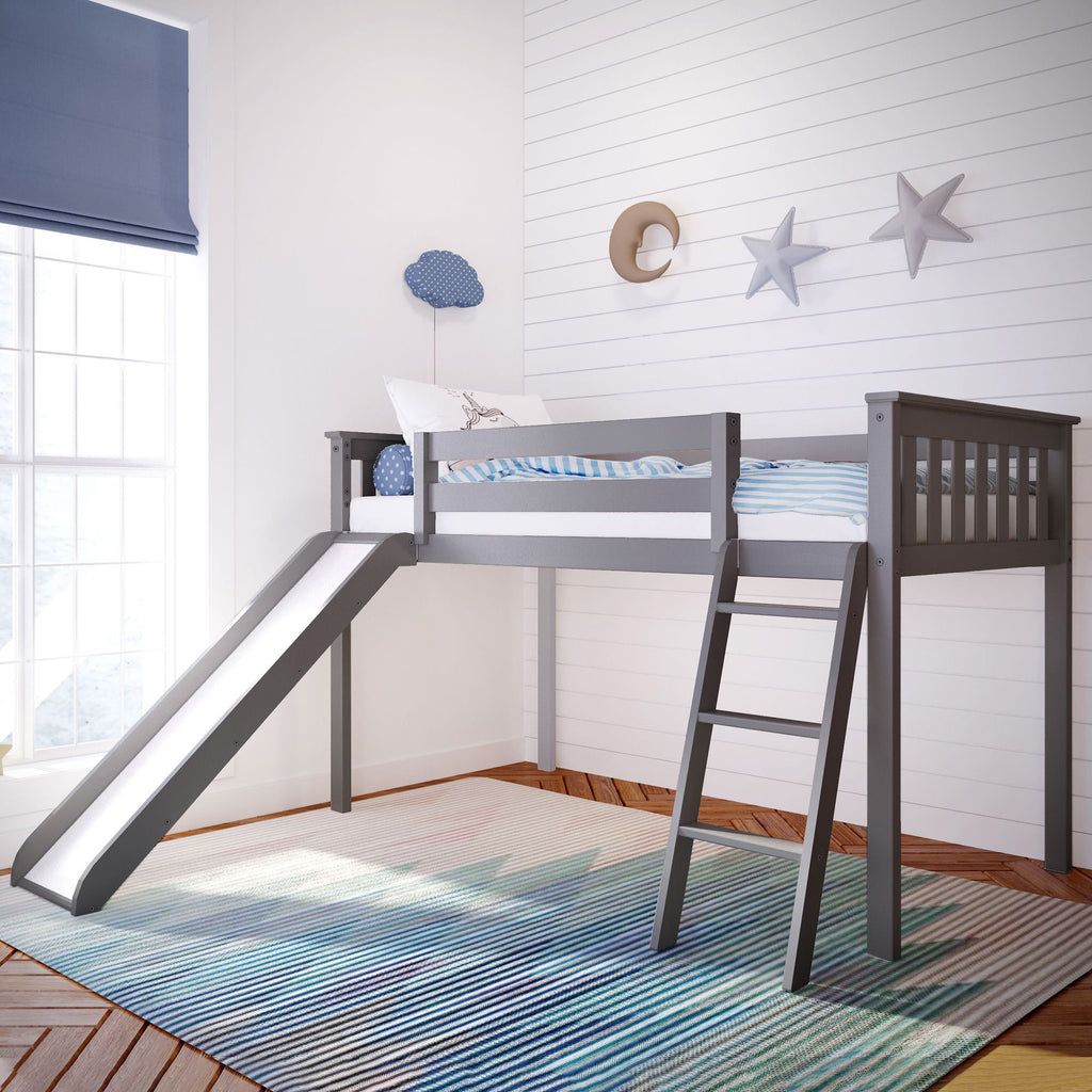 Max & Lily Kid's Twin Size Low Loft with Slide Loft Beds Grey