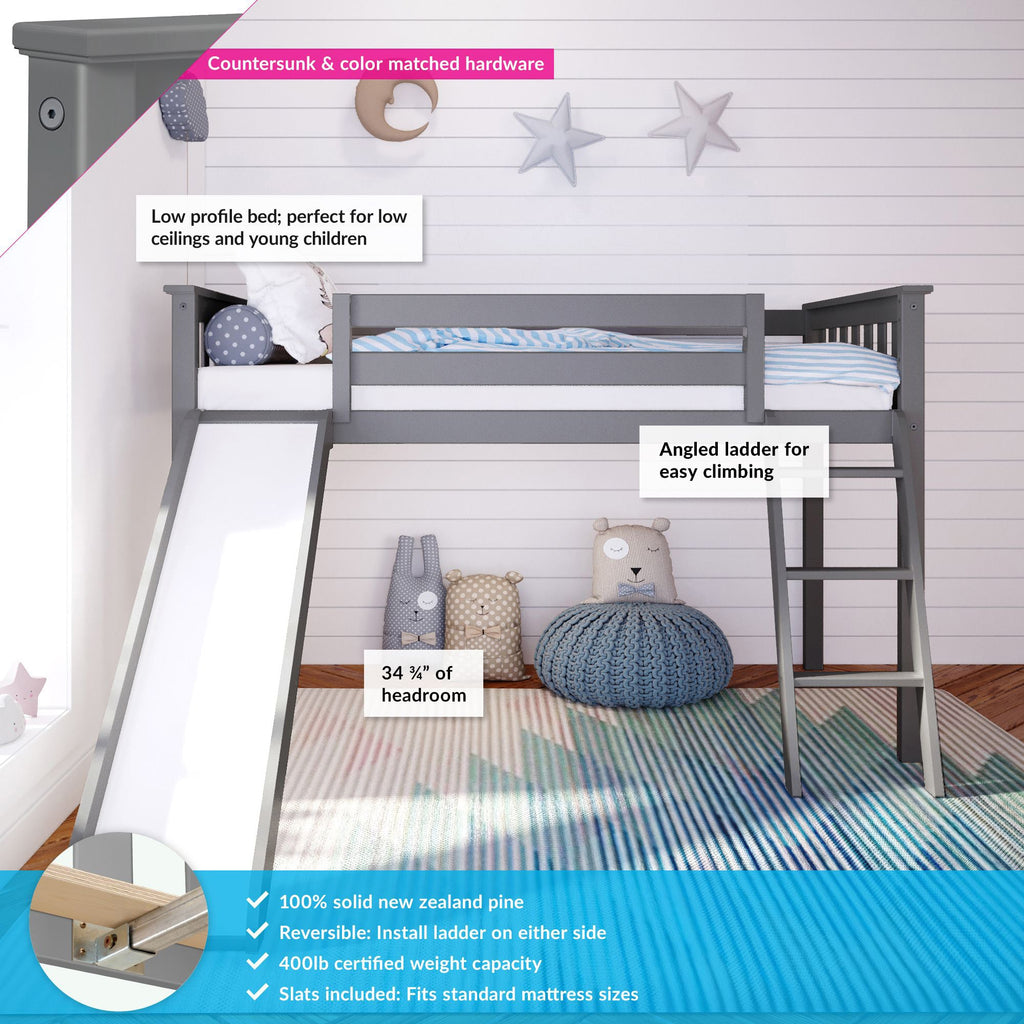 Max & Lily Kid's Twin Size Low Loft with Slide Loft Beds